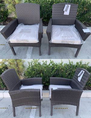 """New in box SET OF 2 Santa Fe Dining Brown Chair Outdoor Wicker Patio Furniture With Tan Sunbrella material Cushion $400 at Costco seat height 19"""" wid for Sale in Los Angeles, CA"""