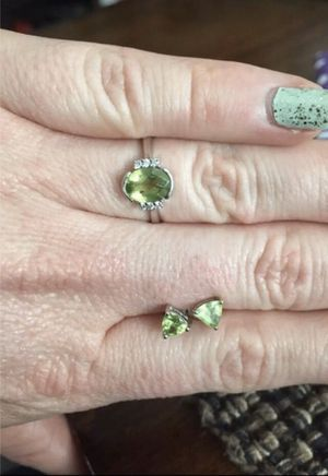 Diamond and peridot ring and earrings for Sale in Rancho Cucamonga, CA