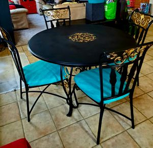 Beautiful Wrought Iron/Wood Kitchen Table & Chairs for Sale in Manteca, CA