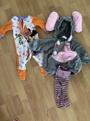 Elephant costume and Halloween pjs 6months for Sale in Plymouth, MA