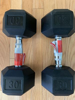 Brand new Dumbbells 30lb set of two rubber hex total of 60lb for Sale in Adelphi, MD
