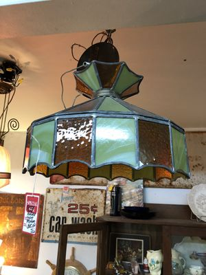 16x16x11 amber and green Tiffany style hanging lamp. 35.00. 212 north Main Street Buda. 😀Johanna. Antique vintage furniture sterling silver jewelry for Sale in Creedmoor, TX