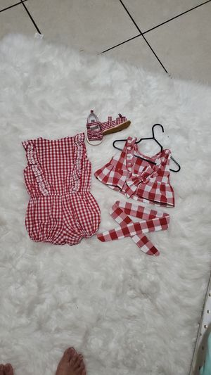 Red checkered baby girl outfit with shoes BUNDLE DEAL for Sale in Las Vegas, NV