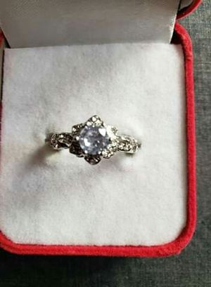 Exquisite white Sapphir diamond rings women 925 silver Gemstone bridal wedding jewelry Anniversary gift Rings size 8 for Sale in Moreno Valley, CA