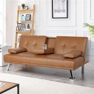 New LuxuryGoods Modern Faux Leather Futon with Cup Holders, Brown for Sale in Houston, TX