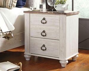 Ashley Furniture Whitewash Nightstand with 2 slim USB Ports for Sale in Santa Ana, CA