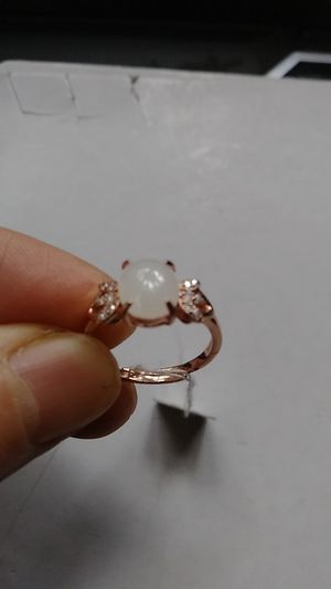 Adjustable genuine green icy jade jadeist silver 925 rose gold overlay ring for Sale in Richmond, CA