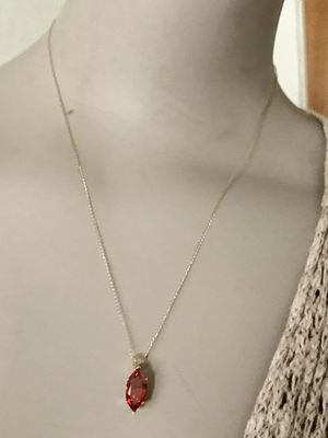 "estate 14kt gold ruby pendant (charm). With 17"" 14k Solid Yellow Gold Chain /Necklace for Sale in Mountain View, CA"