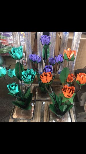 Colorful metal flowers $29 each for Sale in Austin, TX