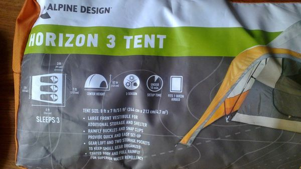Alpine Design Horizon 3 Person Tent For Sale In San Jose Ca Offerup