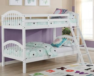 New! Twin/Twin White Wood Bunkbed *FREE DELIVERY* for Sale in Columbia,  MD