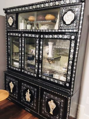Antique Mother of Pearl China Cabinet for Sale in Los Angeles, CA