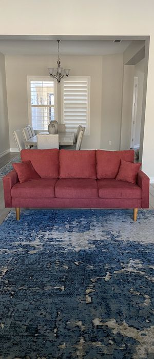 Beautiful Modern Contemporary Red Fabric Sofa / Couch / Futon 72inch long BRAND NEW for Sale in Peoria, AZ