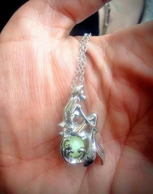 925 SiLveR Mermaid GreeN GLowing BaLL Cage Locket for Sale in Bountiful, UT
