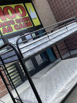Metal Twin/Twin Bunk Bed w/mattresses for Sale in West Valley City,  UT