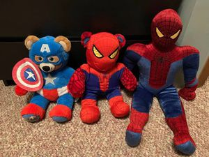 Build-a-bear Spider-Man, Build-a-bear Captain America and Spider-Man plush. for Sale in Vashon, WA