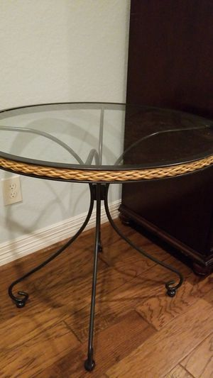 Glass top, rattan and metal bistro table for Sale in Montgomery, TX