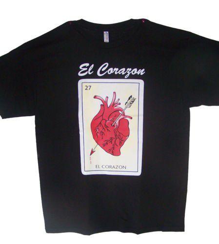 EL CORAZON Loteria T-Shirts Lottery T-Shirts Mexican T-Shirts ( MxTs316 Z )
