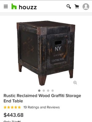 Rustic reclaimed pine wood City Storage side/ end table retail $443 for Sale in San Diego, CA