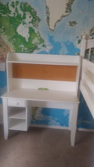 White desk with drawer, shelves and pinboard for Sale in Monroe, WA