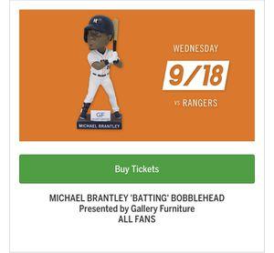 Astros Vs. Rangers 9/18 **Brantley Bobblehead Night** for Sale in Houston, TX