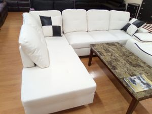 White Sectional sofa with Ottoman for Sale in Washington, DC