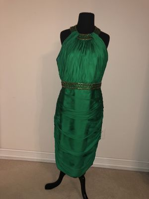 LIKE NEW Carmen Marc Valvo EMERALD GREEN Halter Neck Wedding Cocktail Party Dress Size 12 for Sale in Plano, TX
