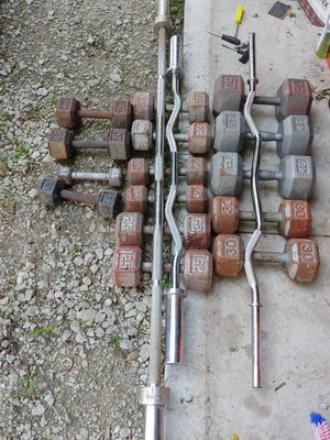 Dumbells, weight bars, curl bar straight bar for Sale in Crest Hill, IL