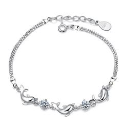 925 Silver Dolphin Bracelet With Clear And Purple Zircon for Sale in Bagdad,  FL