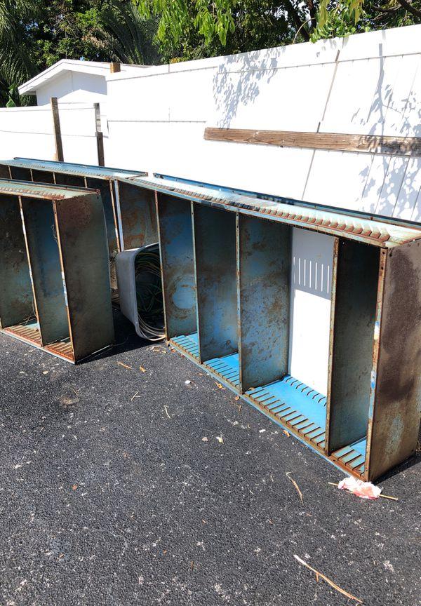 3 metal storage shelves