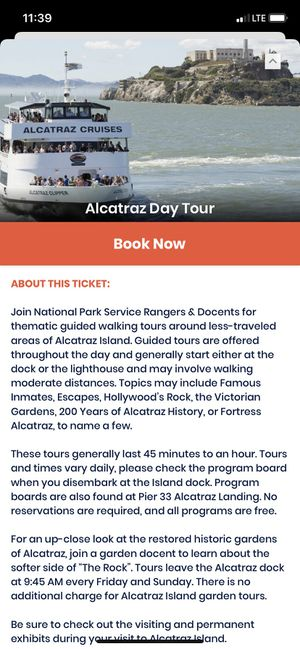 Alcantraz tickets 2-15 11 am one ticket for Sale in San Francisco, CA