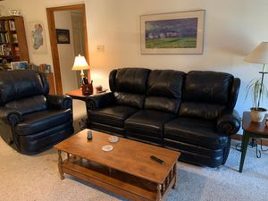 Leather couch and recliner navy for Sale in Durham, NC