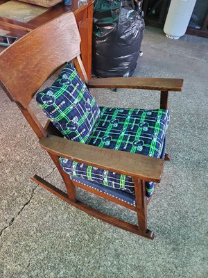Beautiful antique rocking chair with Seahawks printing for Sale in Tacoma, WA