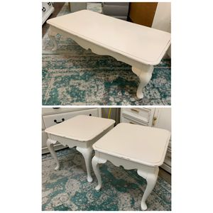 White farmhouse coffee table and two end tables for Sale in Sumner, WA