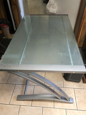 Glass desk with computer shelf for Sale in San Diego, CA