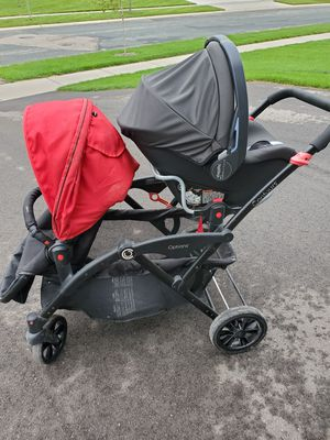Contours double stroller with peg perego 4.35 car seat for Sale in Minnetrista, MN