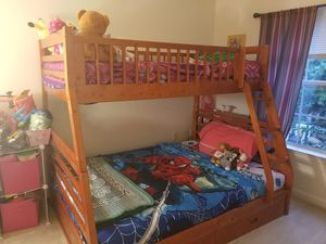Bunk bed with memory foam mattress and dresser for Sale in Fairfax, VA