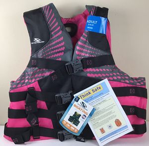 Women's Infinity Nylon Life Vest for Adults 90+ Pounds 2XL 3XL Stearns Pink / Black for Sale in Land O Lakes, FL