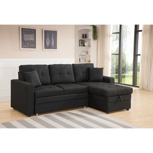 Pull Out Black Linen Sectional Sofa Bed With Reversible Chaise And Storage for Sale in East Los Angeles, CA