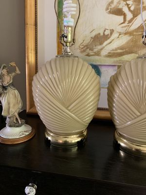 Vintage ribbed glass lamps - a pair for Sale in Centreville, VA