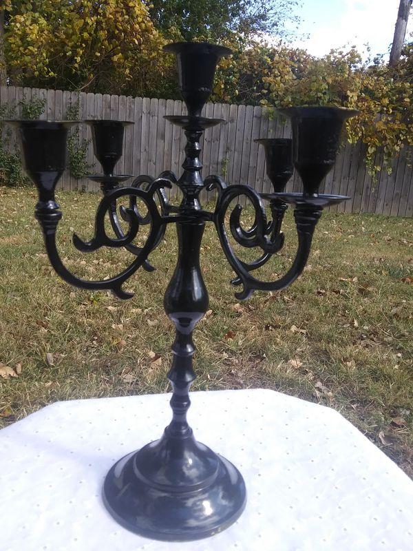 Vintage Brass Candelabra Painted Black