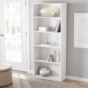 "Mainstays 71"" 5-Shelf Standard Bookcase, Natural and white colors for Sale in Houston, TX"