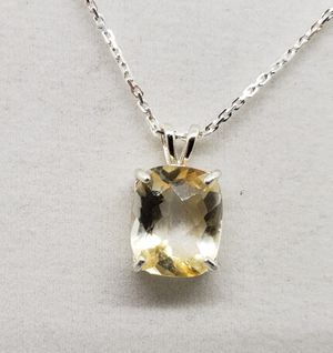 Natural 12x10mm Emerald Lemon Topaz Necklace for Sale in Justin, TX