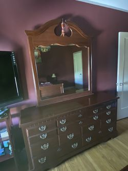 SPACIOUS DRESSER & LARGE MIRROR; CHERRY WOOD for Sale in San Francisco,  CA
