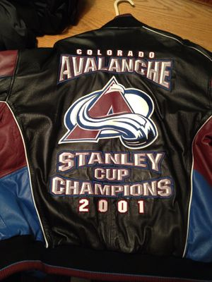Avalanche 2001 Championship Leather Jacket Official NHL Licensed Item. Size XL. Like New, as it has never been worn other than tried on. for Sale in Denver, CO
