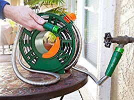 New in box 25 feet Hercules stainless steel water hose with wind-up reel as seen on TV for Sale in Los Angeles, CA
