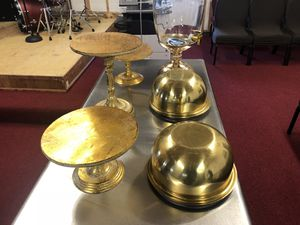 Gold serving trays / punch dispenser for Sale in Hayward, CA
