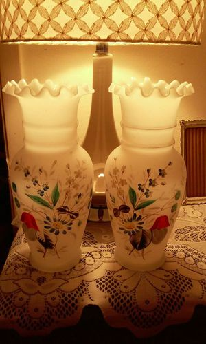 Antique Frosted Glass Hand Painted Vases for Sale in San Bruno, CA