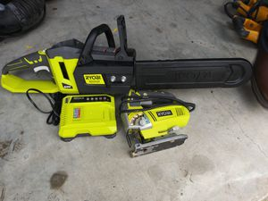 40 volt chainsaw roiboy an roiboy jigsaw. Charger no battery. 90 for Sale in Houston, TX
