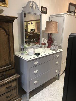 Birdseye maple dresser w/mirror freshly painted for Sale in Frederick, MD